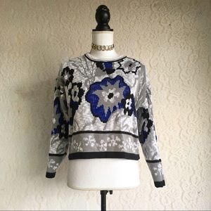 Abstract Cropped Vintage 80's Sweater